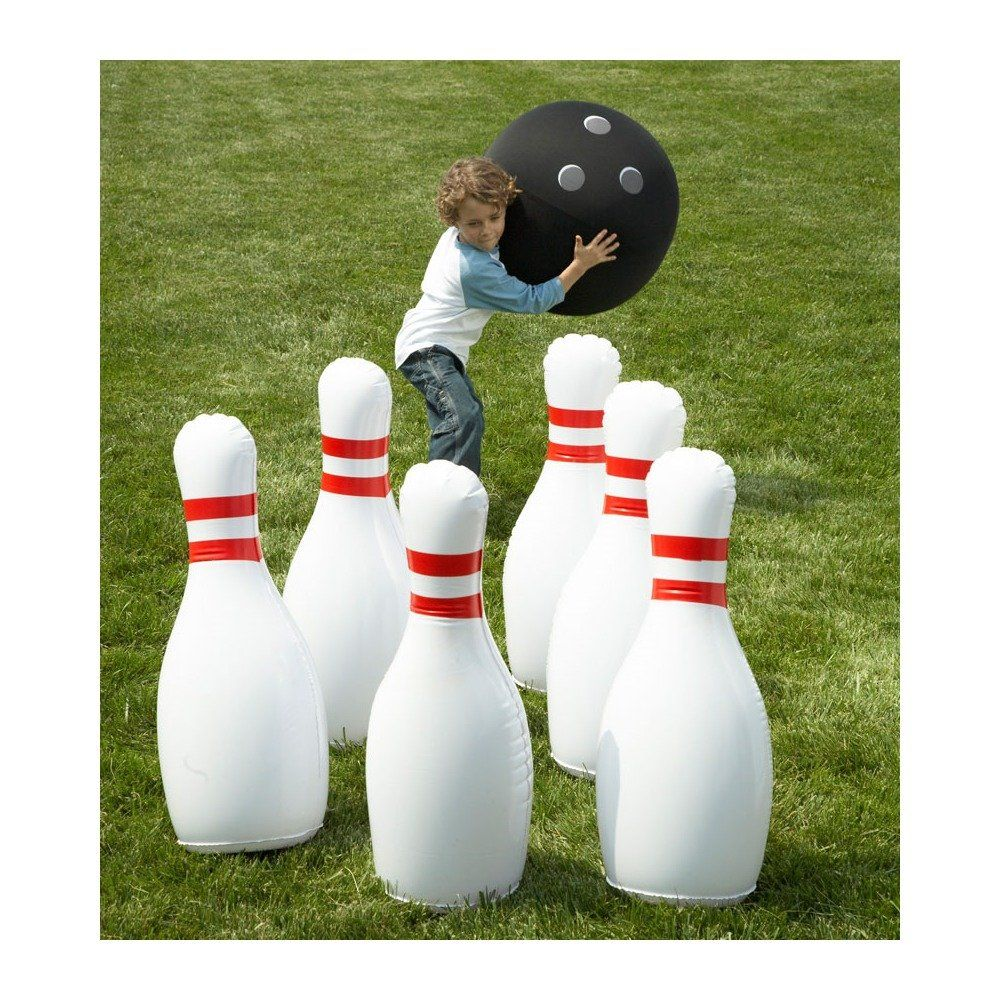 Indoor Outdoor Giant Inflatable Bowling Game Hilarious For Fans Of The Big Lebowski And Just Regular Yard Games For Kids Kids Party Games Yard Games Wedding
