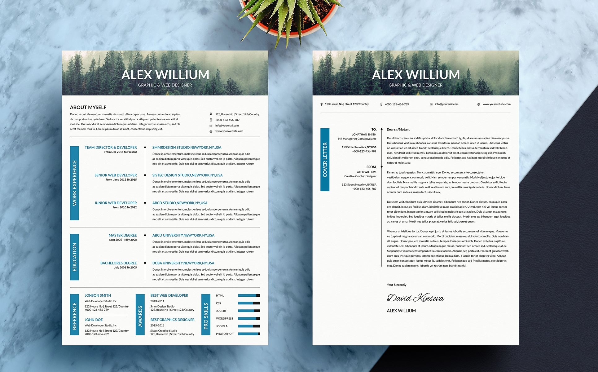 simple and minimal resume template  photoshop and