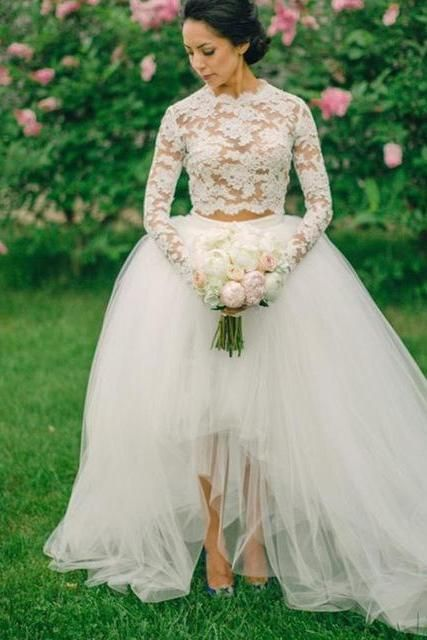 Two Piece Long Sleeves Lace High Low Wedding Dress Bridal Gown ...