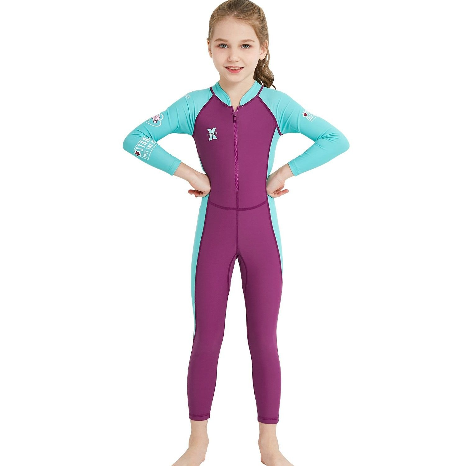 Sun Protection Purple, 3t Girl Two Pieces Swimsuit Long Sleeve with UPF 50