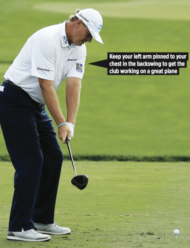 One of the best golf swing plane tips is to keep your left arm