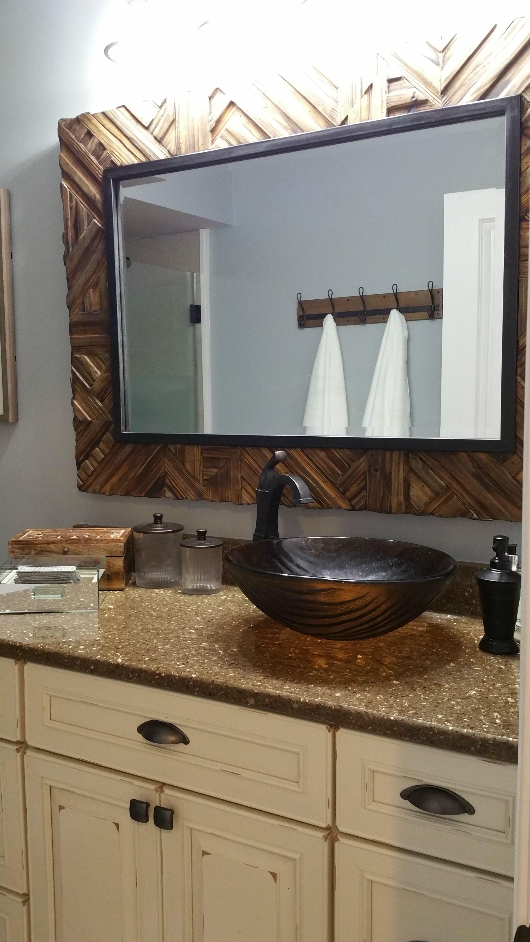 Nature Inspired Modern Bathroom A Deep Brown Vessel Sink Sits On Top Of A Granite Countertop With A Lighter W Modern Bathroom Vessel Sink Bathroom Wood Vanity Sink that sits on top of counter