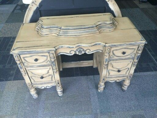 Shabby Chic vintage vanity with jewelry box on top. Ce Ce Caldwell caulk paint. ..
