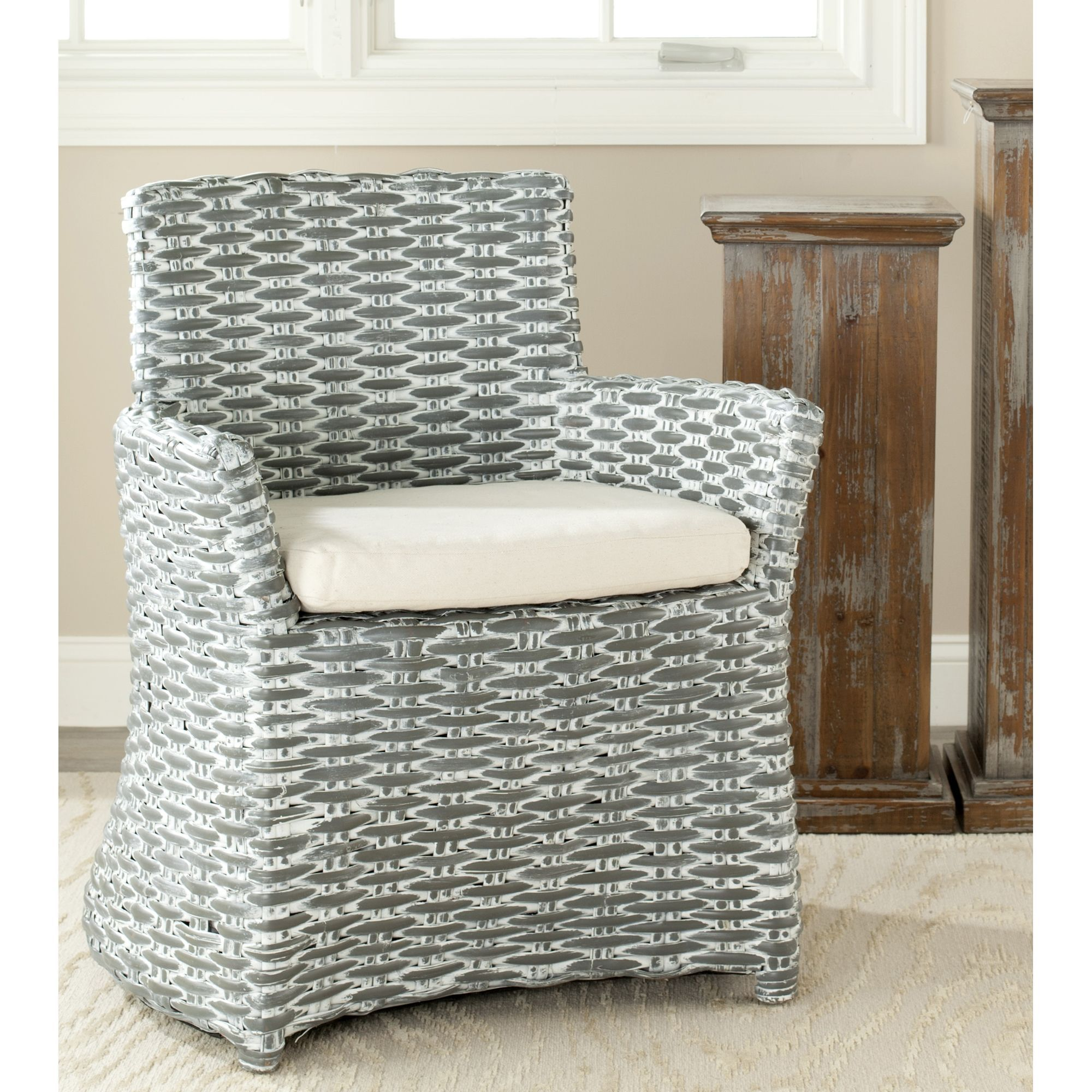 Safavieh Rural Woven Dining St Thomas Indoor Wicker Washed Out Grey Arm  Chair By Safavieh