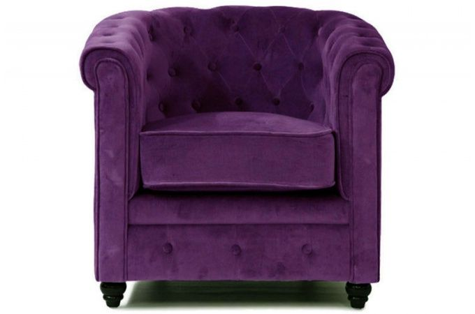 Fauteuil Chesterfield Velours Aubergine Deco Design DECORATION - Fauteuil design violet