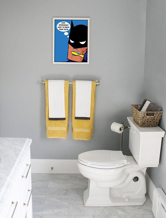 Custom 11x14 Kids Bathroom Art Decor Brush Your Teeth Batman S