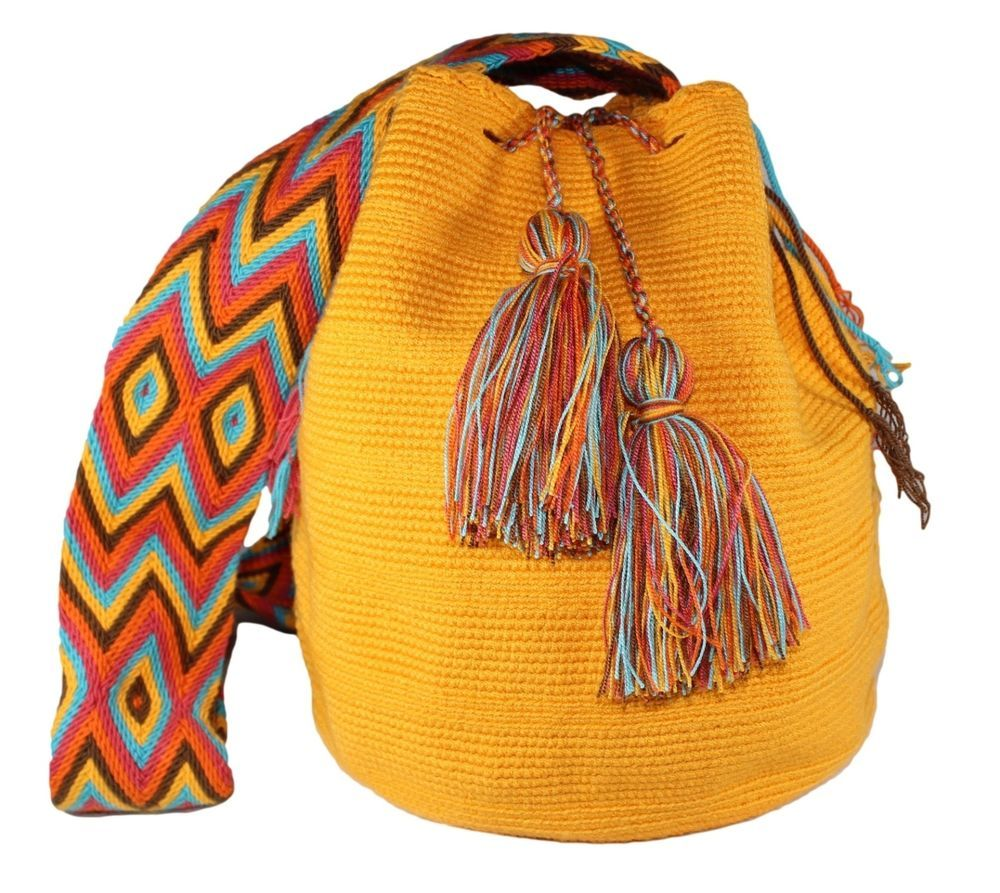 Women's Cotton Woven Made Unique Wayuu Tribal Bright Orange Premium Mochila #Kupuma #Hobo