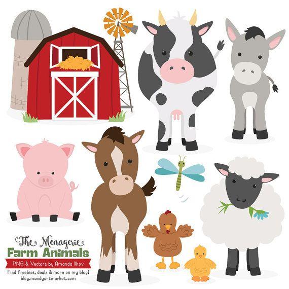 Premium Farm Animals Clip Art Vectors Farm Animals Etsy In 2020 Animal Clipart Farm Animals Chicken Clip Art