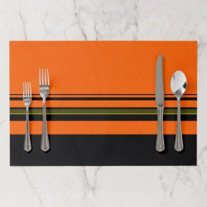 Orange Black Green Striped Pattern Paper Placemat - halloween decor