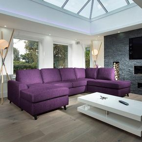 Large Modern Luxury Sofa/Settee 3x2mtr L Shape Corner Group R/H Purple
