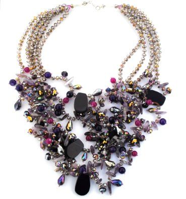 Designer Jewellery - Purple Agate, Crystal Glass & Amethyst Statement Necklace: Amazon.co.uk: Jewellery