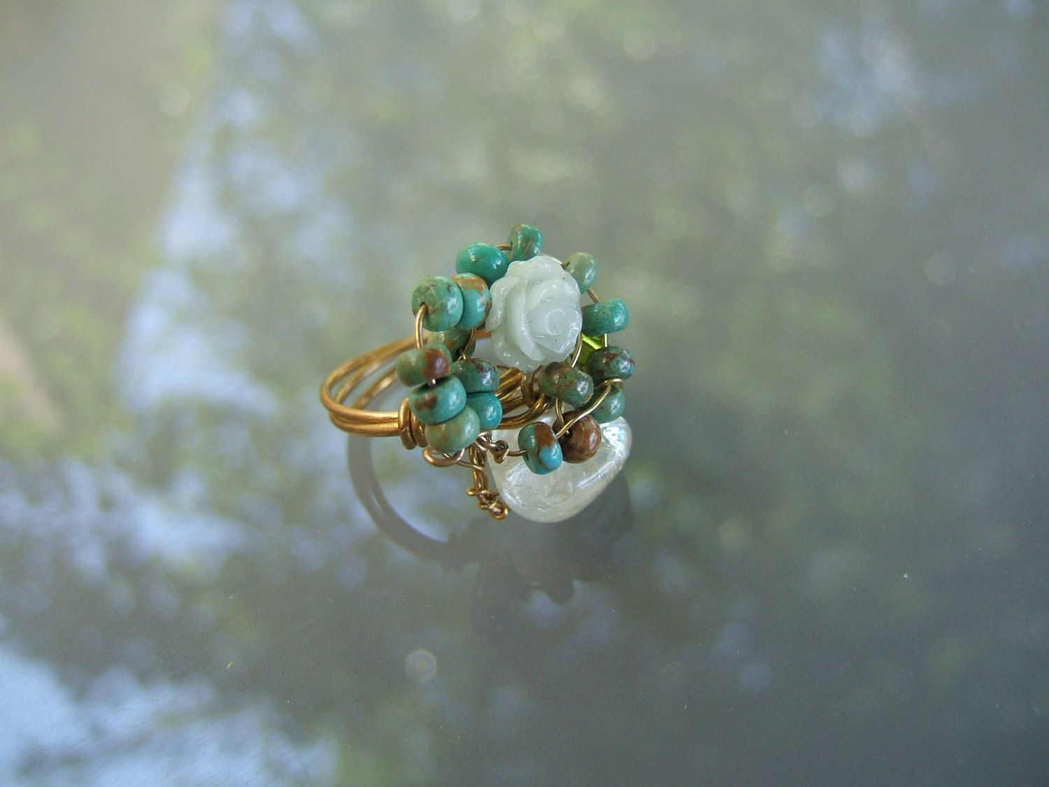Turquoise gemstone ring, Gold field wire wrapped stone, Goldfield ...