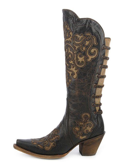 "Corral Ladies 15/"" Snip Toe Leather Cowboy Western Boots Black Bone A3107"