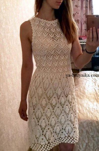 e92e6ba5d55 Красивое платье крючком схемы. Схемы вязаных крючком платьев ...