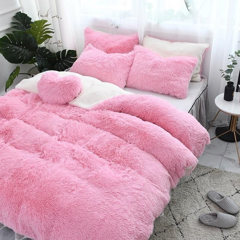 ~ BEAUTIFUL ULTRA SOFT FLUFFY PLUSH COZY LUXURY PINK GIRLS COMFORTER SET NEW!