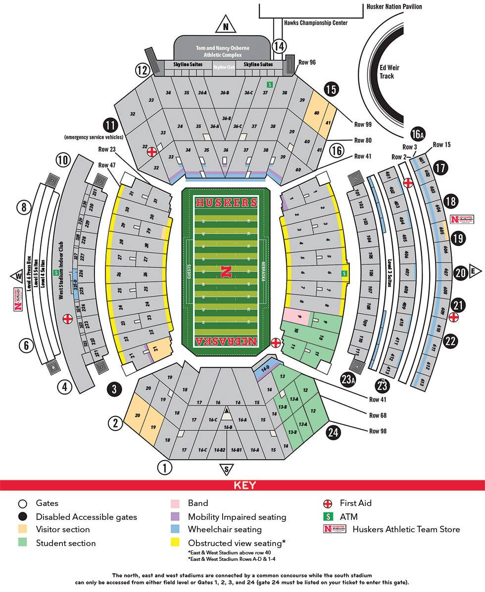 Football Stadium Maps University Of Nebraska Nebraska Cornhuskers Football Nebraska Football Nebraska Cornhuskers