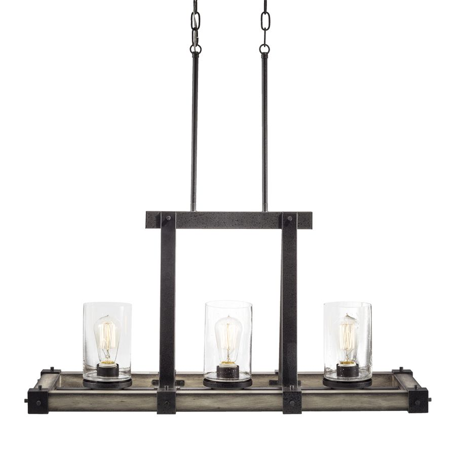 Shop Kichler Lighting Barrington 3201In W 3Light Anvil Iron Adorable Lowes Dining Room Light Fixtures 2018