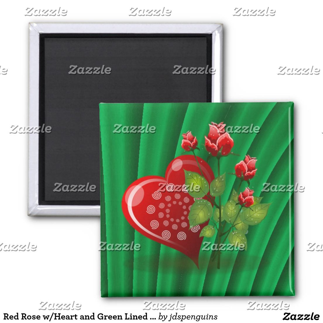 Red Rose w/Heart and Green Lined Background 2 Inch Square Magnet