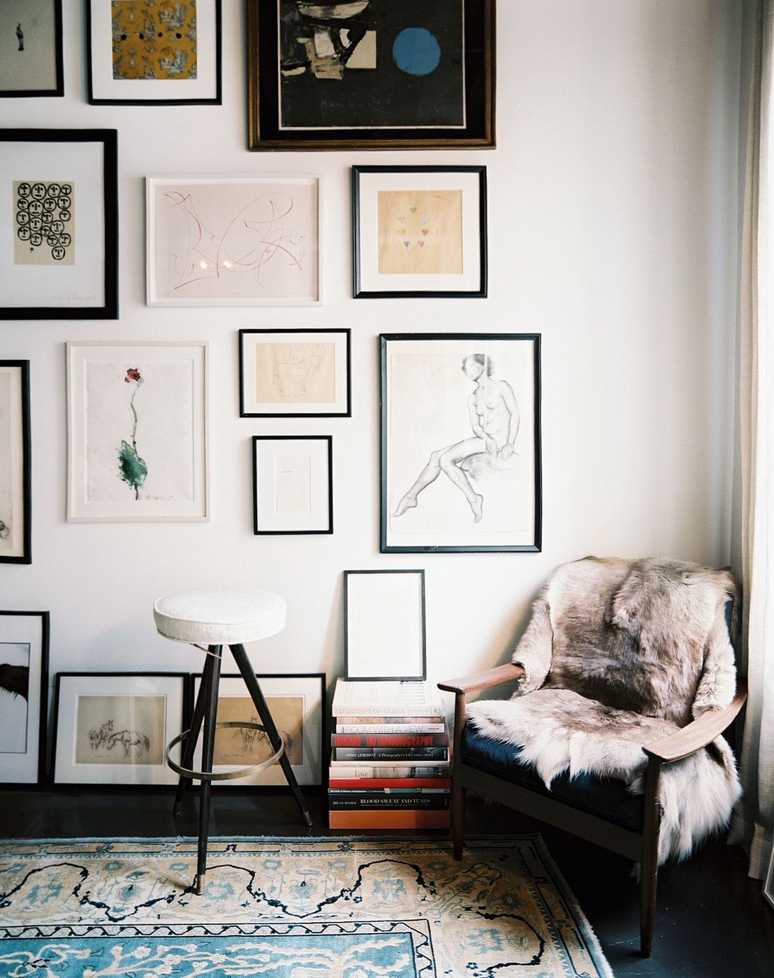 Nesting corner armchairs cozy and gallery wall