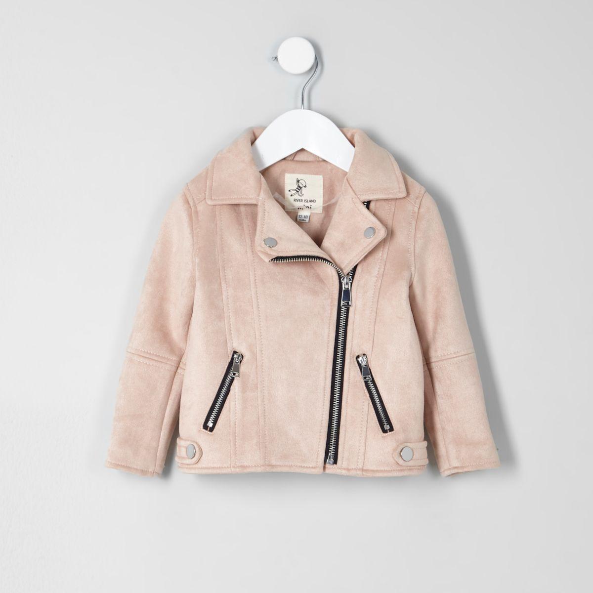 5b77d6fda Mini girls light pink faux suede biker jacket - Baby Girls Coats ...