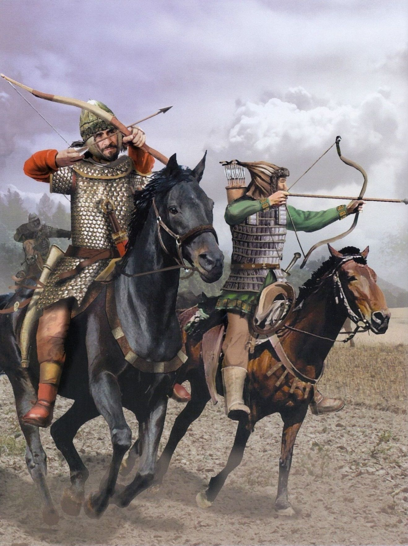 Late Roman Cavalryman And Hunnic Archer Ride Into Battle