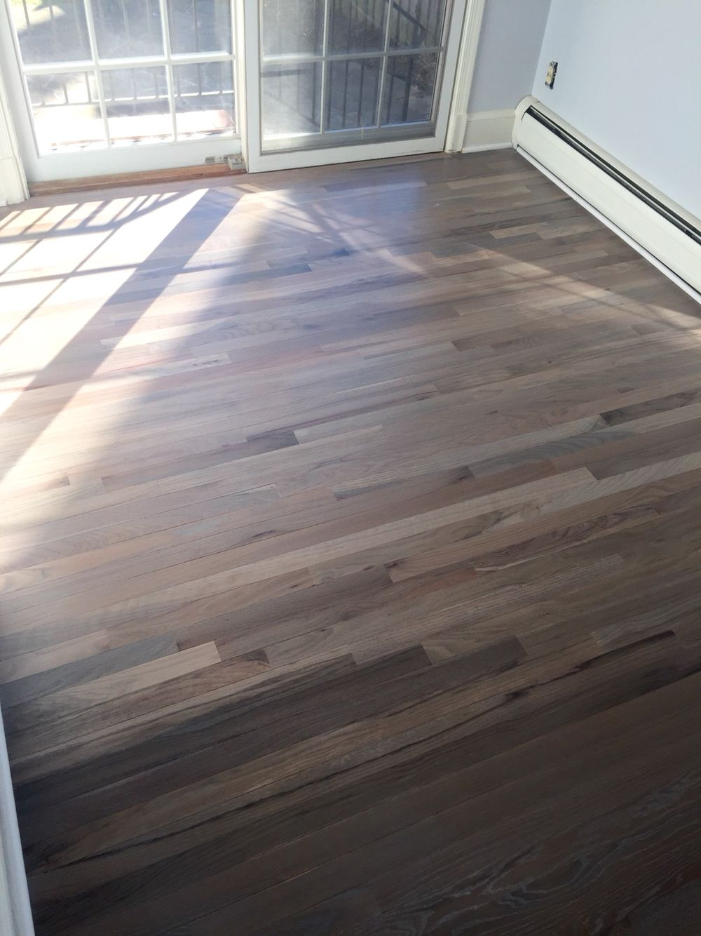 Refinished red oak flooring with rubio fumed and rubio 5 for Red oak hardwood flooring
