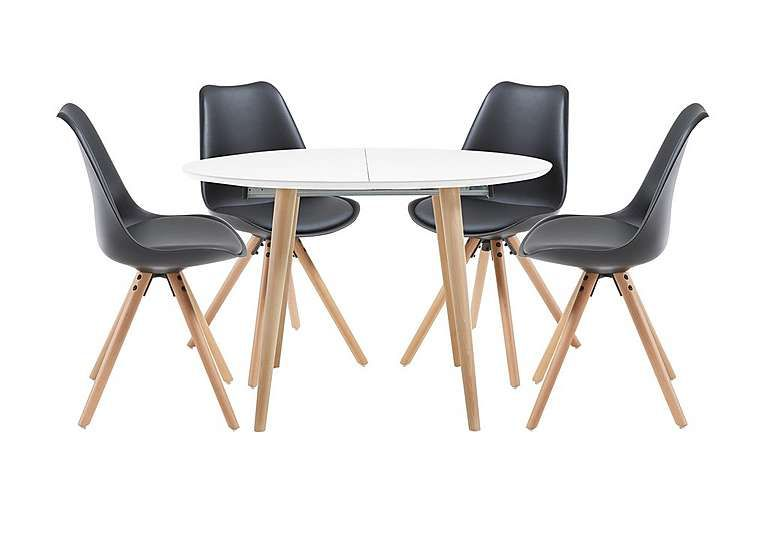 Scandi Style Dining Set With Round Extending Table Seats Up To Matt White  Lacquer Table Has Natural Beech Wood Legs. Ultra Modern Dining Chairs In  Black, ...