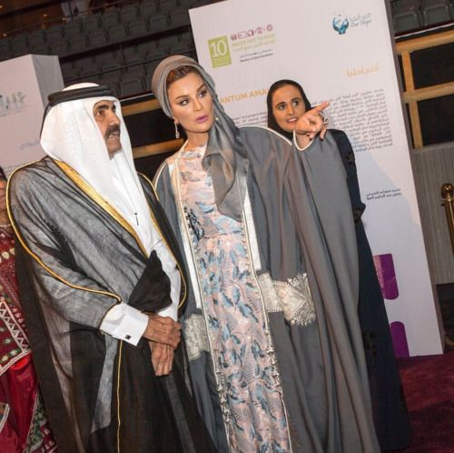 Their Highnesses the Father Amir and Sheikha Moza attended the...