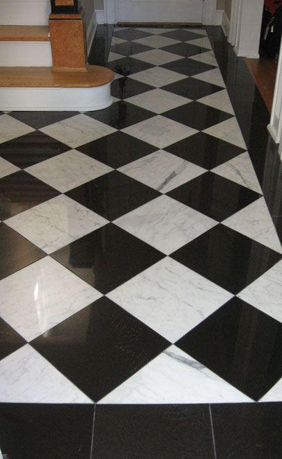 black and white tiles white tile floor