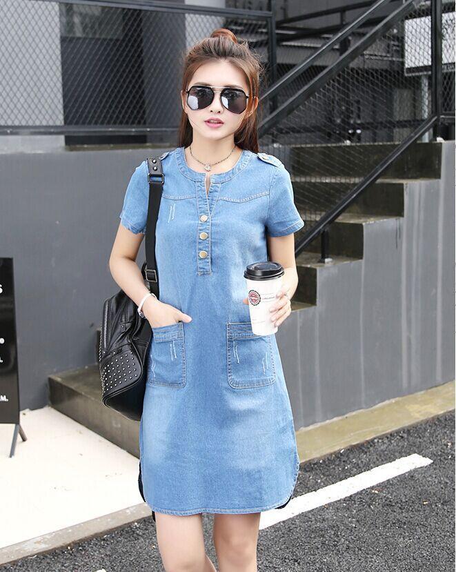 b2a6631de43 2016 New Summer Style Plus Size A Line Denim Dress Women V-neck Short  Sleeve Slim Casual Office Denim Jeans Dress Vestidos Robe