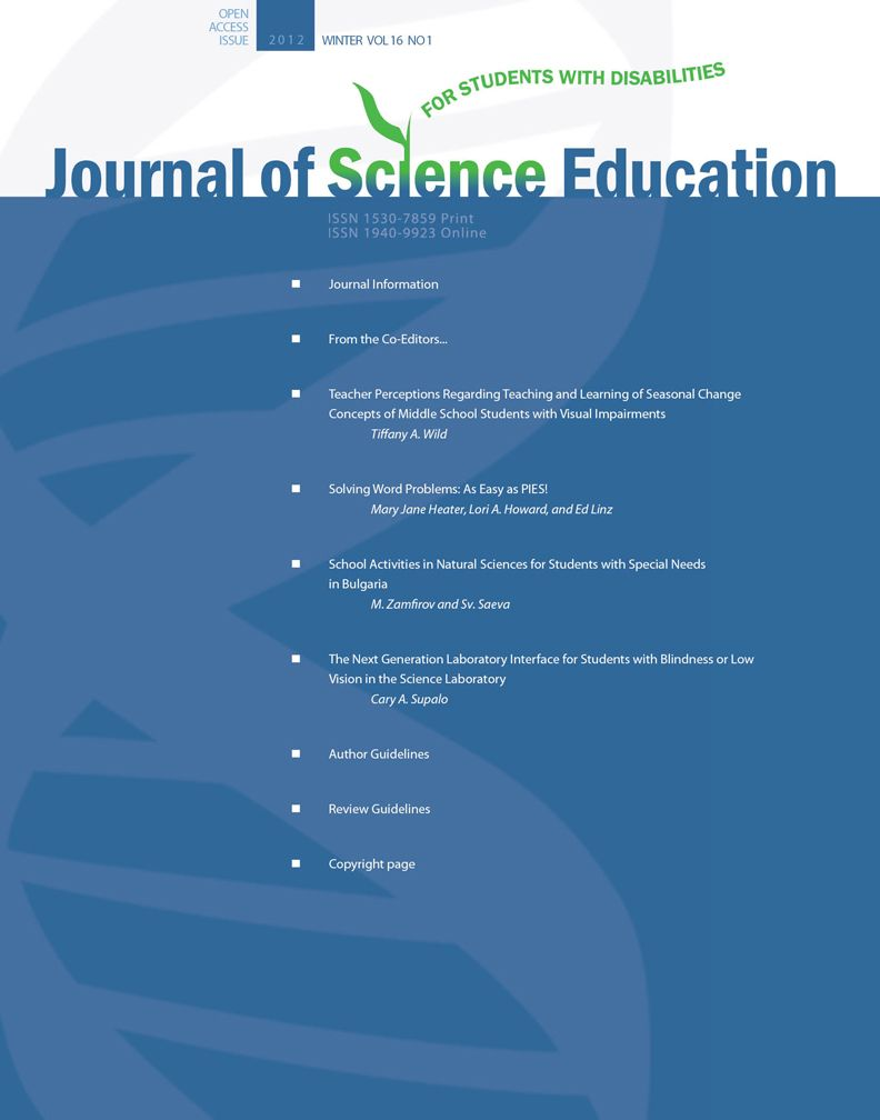 Journal of Science Education for Students with Disabilities cover