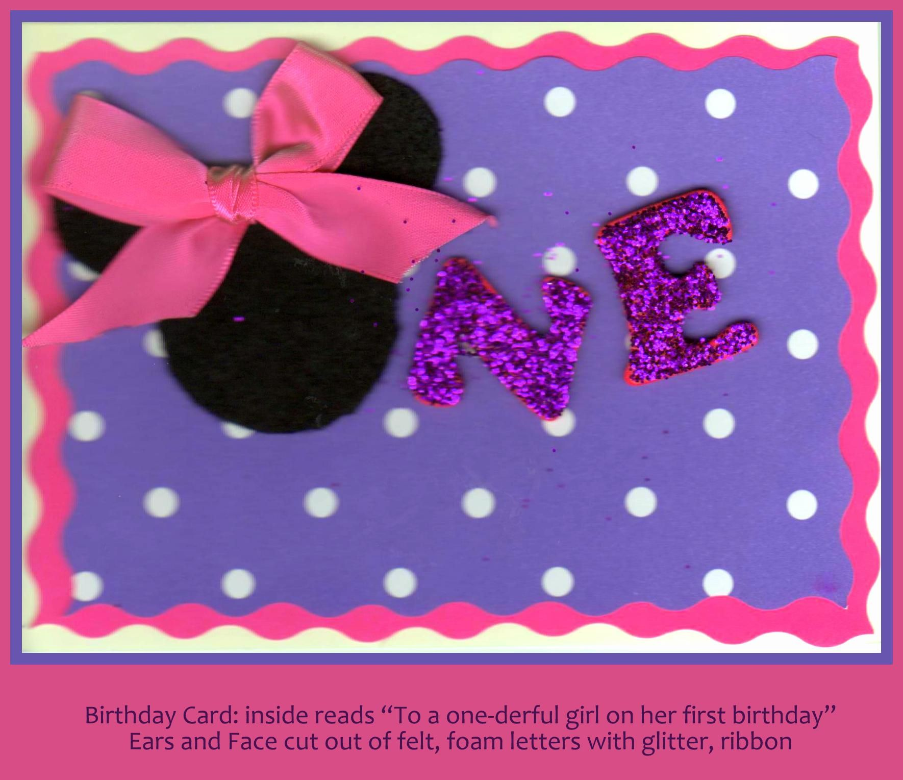 Minnie Mouse first birthday card Moments Baby