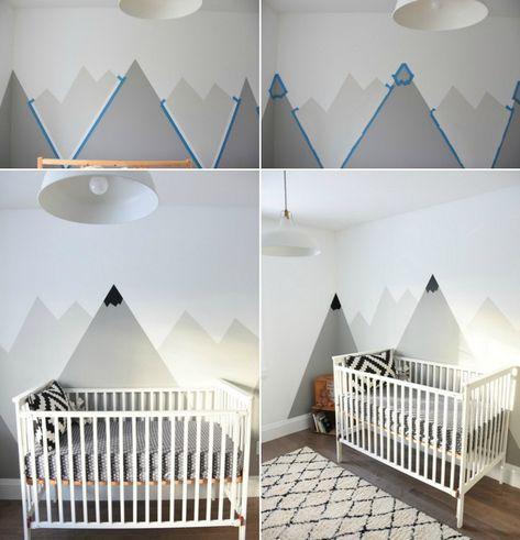 Ideen Für Wandgestaltung Mit Farbe   Wandgemälde Von Bergen Selber Machen |  Baby | Pinterest | Babies