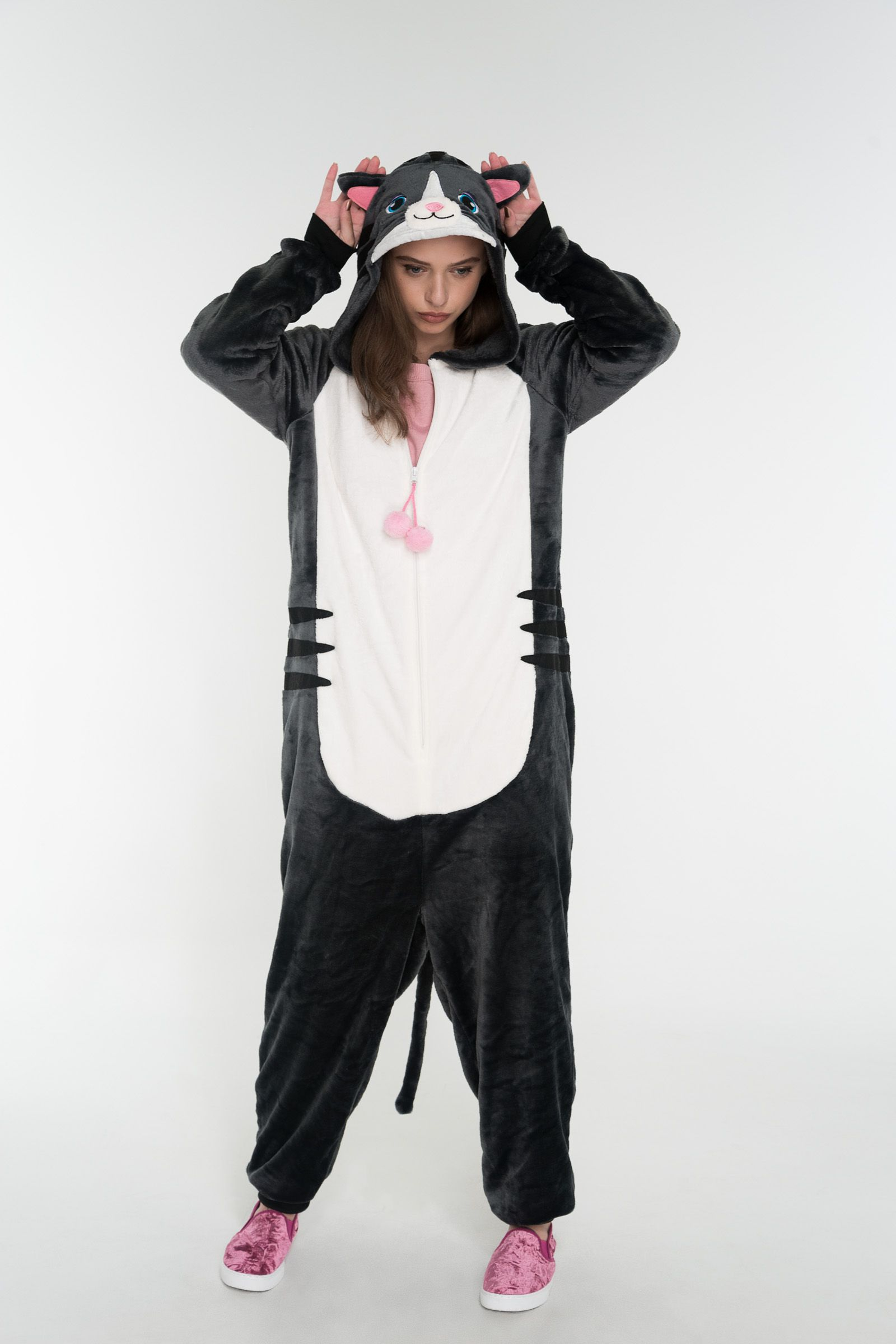 4332f0b1f0f5  Ardene  - Fuzzy onesie. Long sleeves. Zipper closure. Hood with cat face.  Ribbed wrists and ankles. Tail.