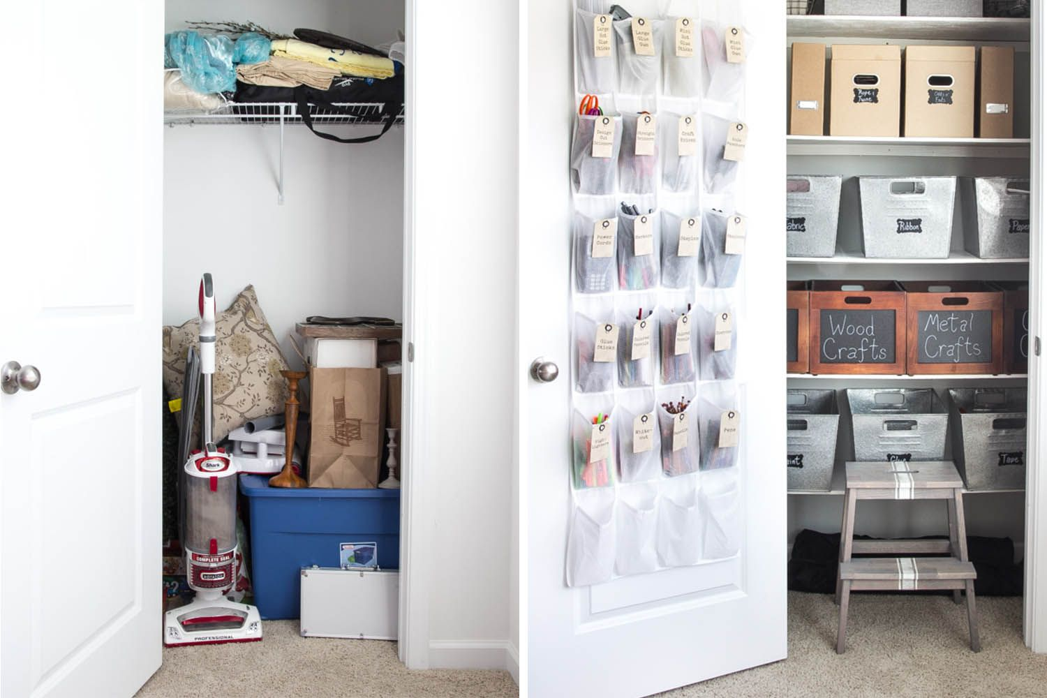 how to organize office. Office Closet Before And After // How To Organize Your Craft Organized Home Makeover Www.SimplySpaced.com O
