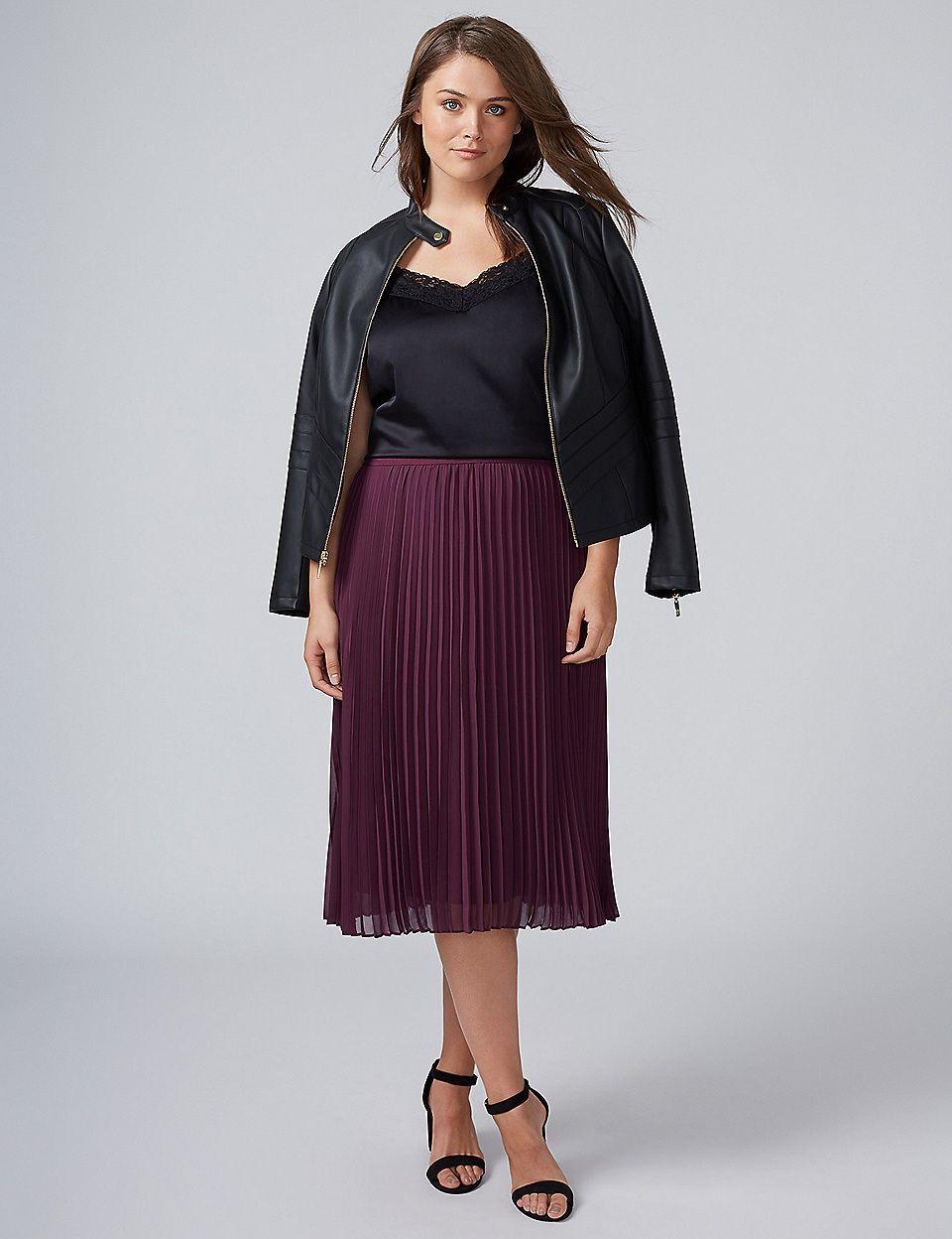 c191219117 Pleated Chiffon Midi Skirt   Lane Bryant Curvy Girl Fashion, Plus Size  Fashion, Plus