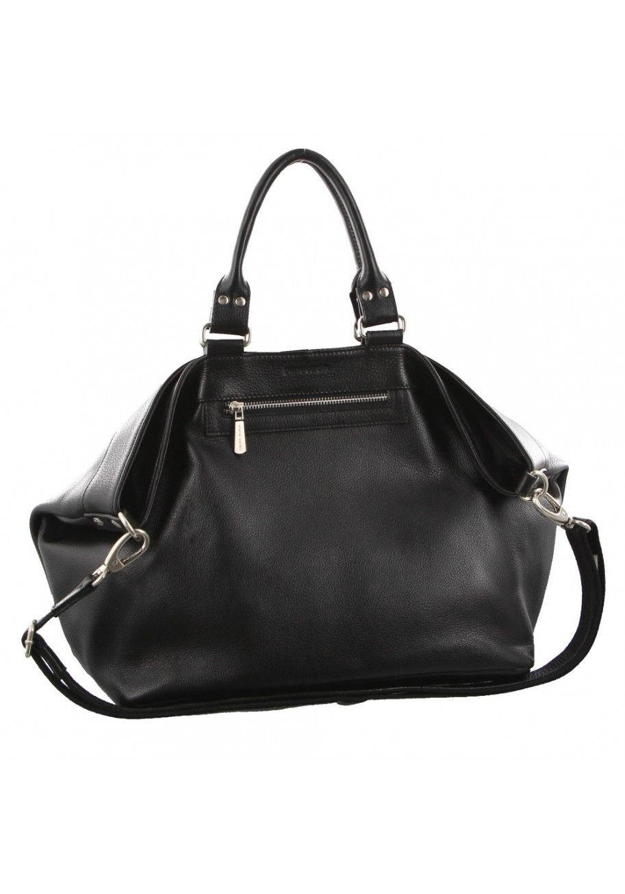 90961f6d7c Pierre Cardin - Womens Genuine Italian Leather Black Double Handle Tote  Shoulder Bag