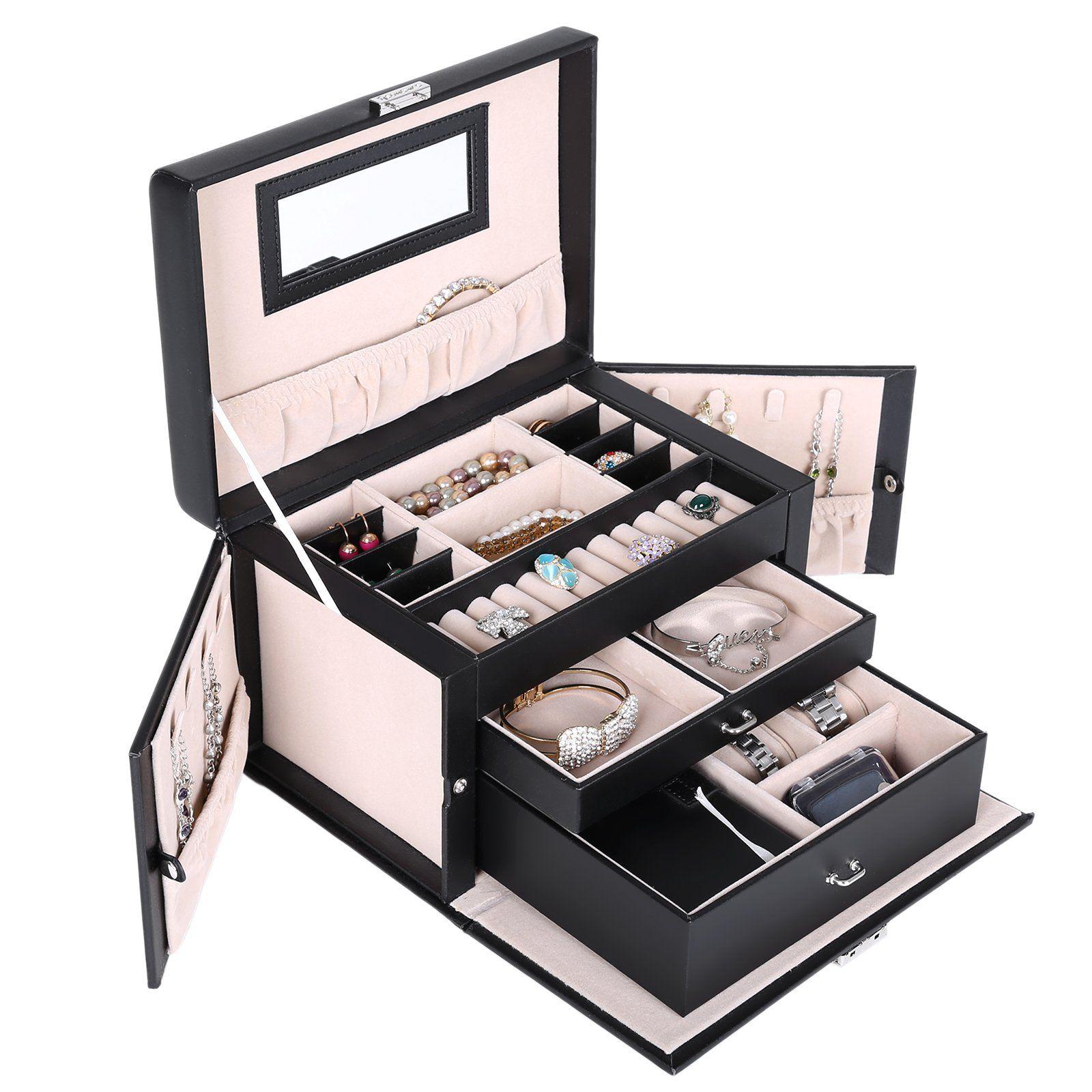 SONGMICS Black Leather Jewelry Box Watch Storage Organizer w Lock