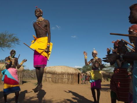 Samburu Tribesmen Performing Traditional Dance, Loisaba Wilderness Conservancy, Laikipia, Kenya Photographic Print by Sergio Pitamitz at Art.com