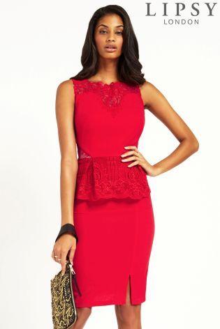 Buy Lipsy Lace Peplum Midi Dress from the Next UK online shop