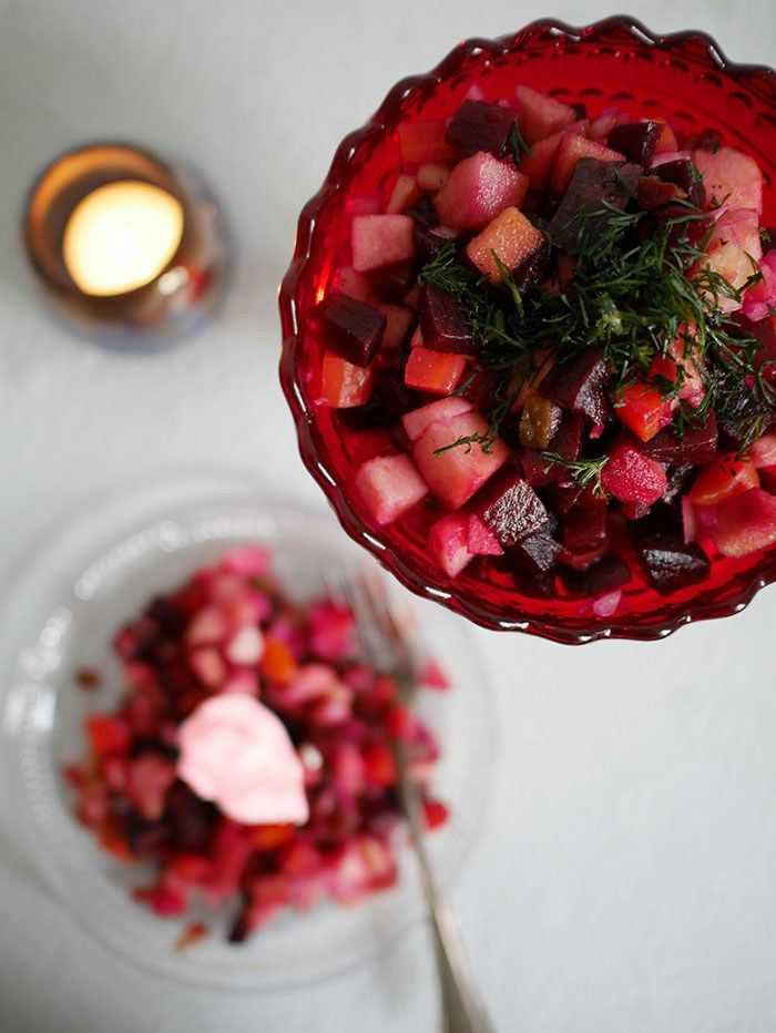 Finnischer Weihnachtssalat: Rote Bete Salat (Rosolli | Rote bete ...
