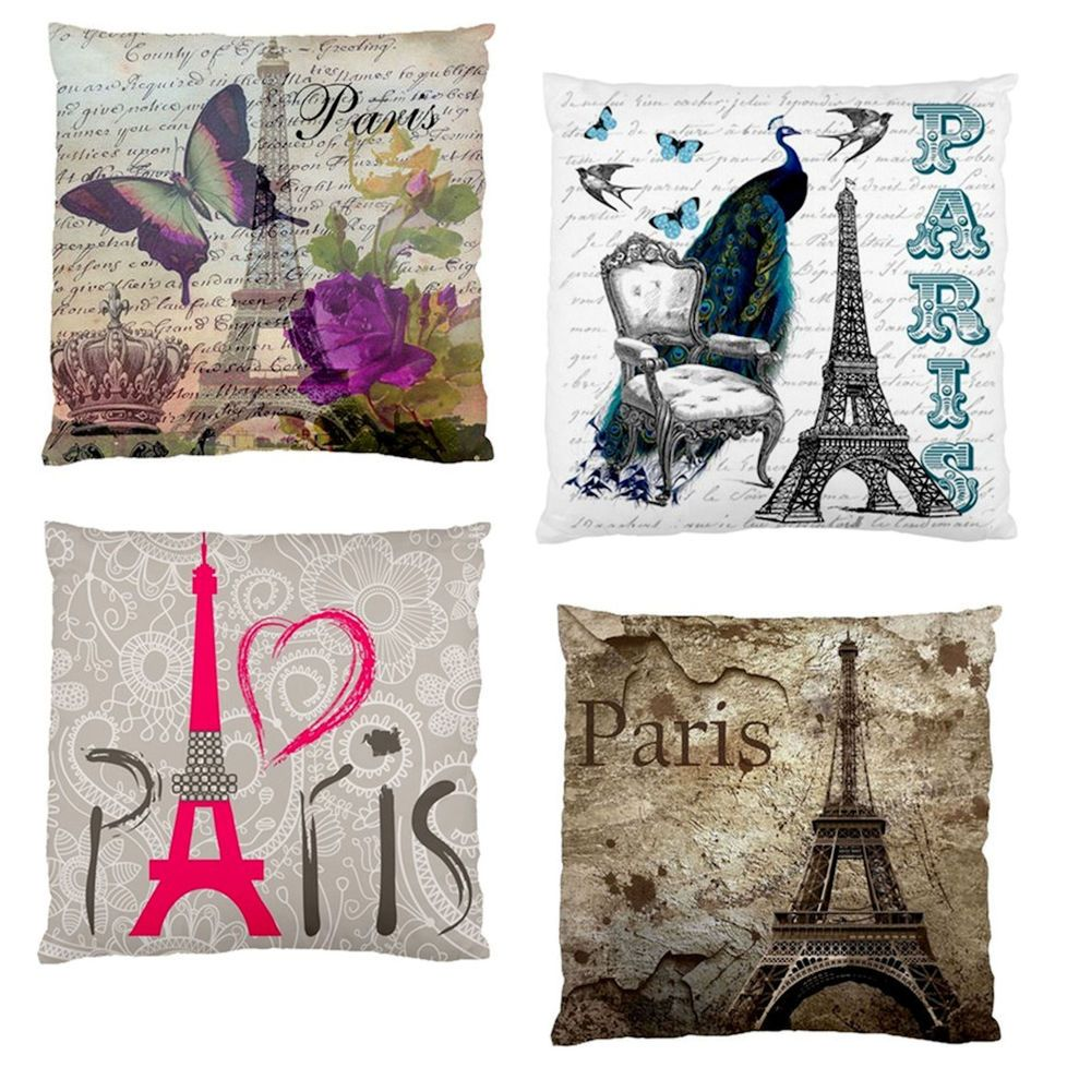 Neweiffel tower butterfly peacock firm feel decor cushion case