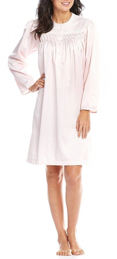 Miss Elaine Petite Smocked Brushed-Back Satin Nightgown  467d14d55