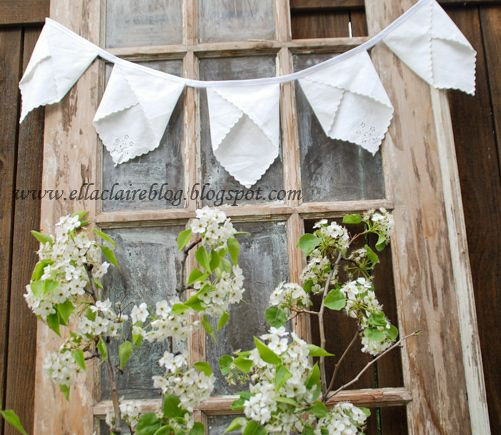 Vintage Napkin Pennant Banner   - this makes me want to Die knowing I passed up those thrift napkins!