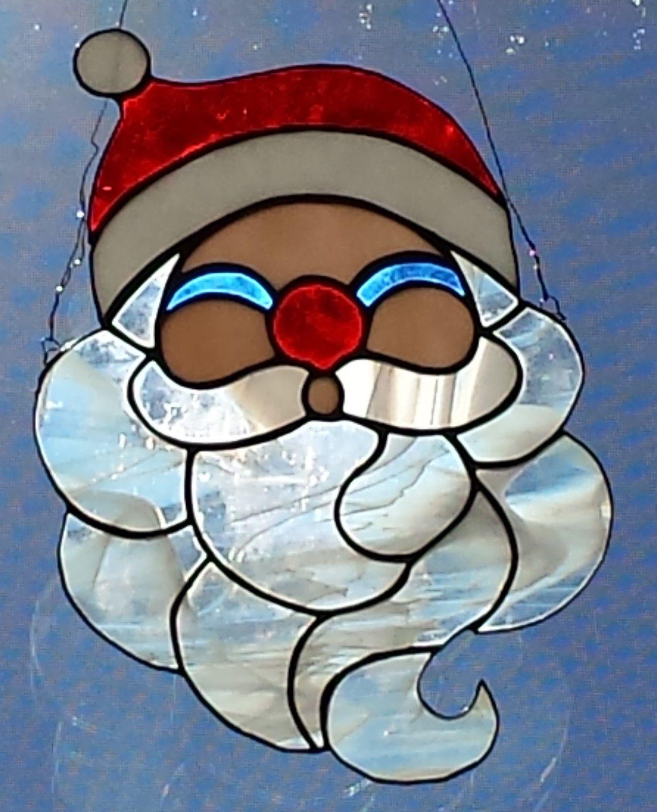 Stained glass santa claus suncatcher ebay