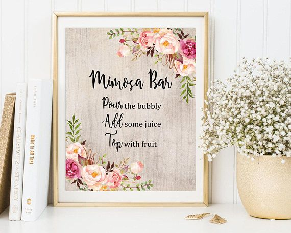 floral rustic mimosa bar sign boho mimosa bar printable wedding sign boho mimosa bar