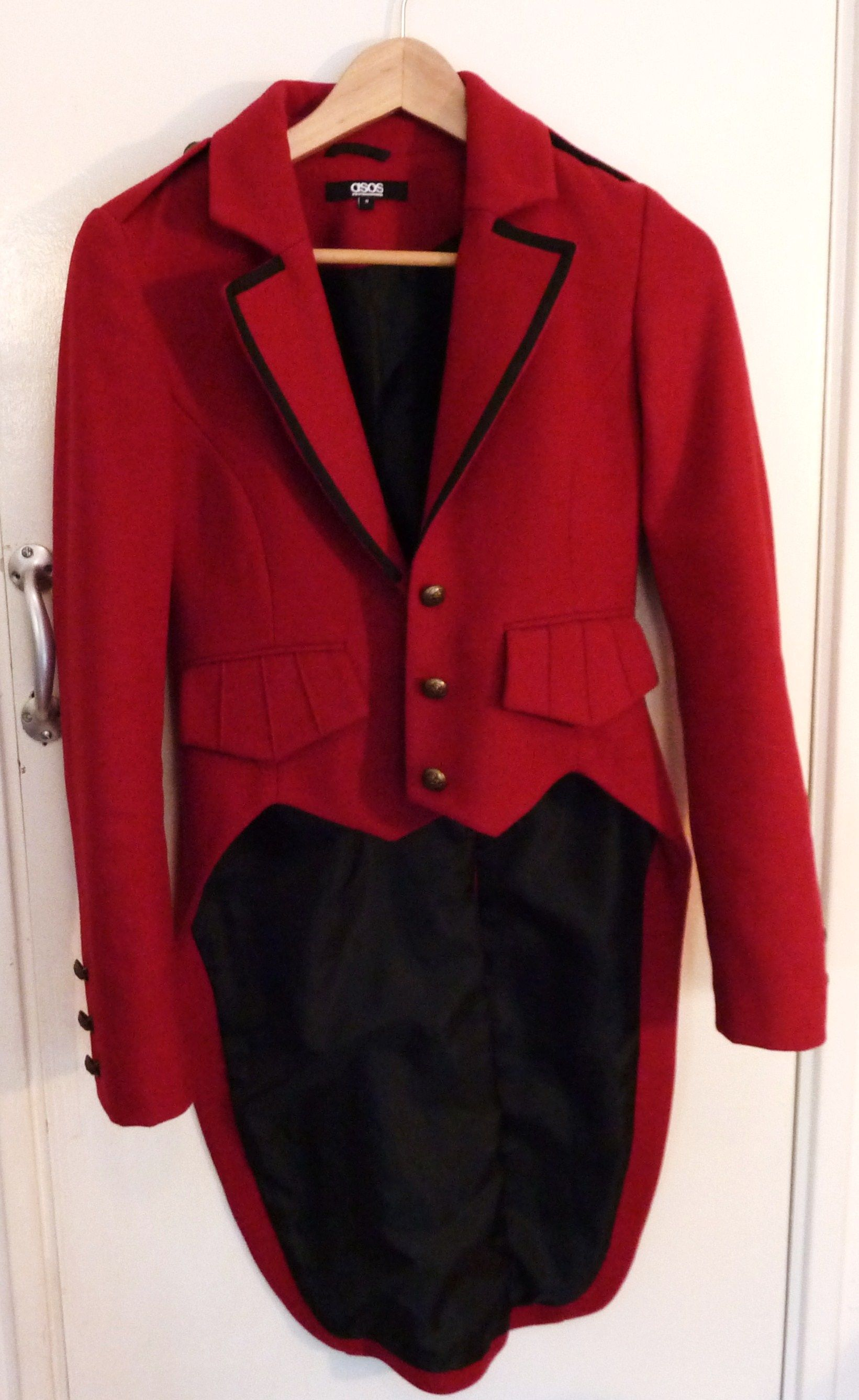 Asos Red Military Jacket Ringmaster Style Size 8 Sold