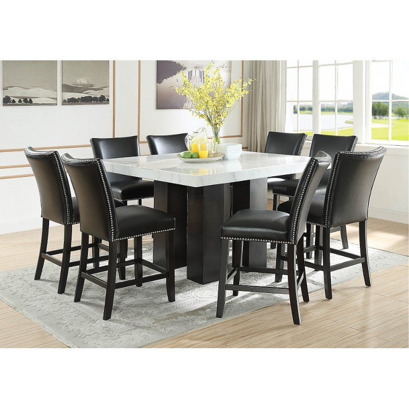 Marble And Black 5 Piece Counter Height Dining Set Camila In