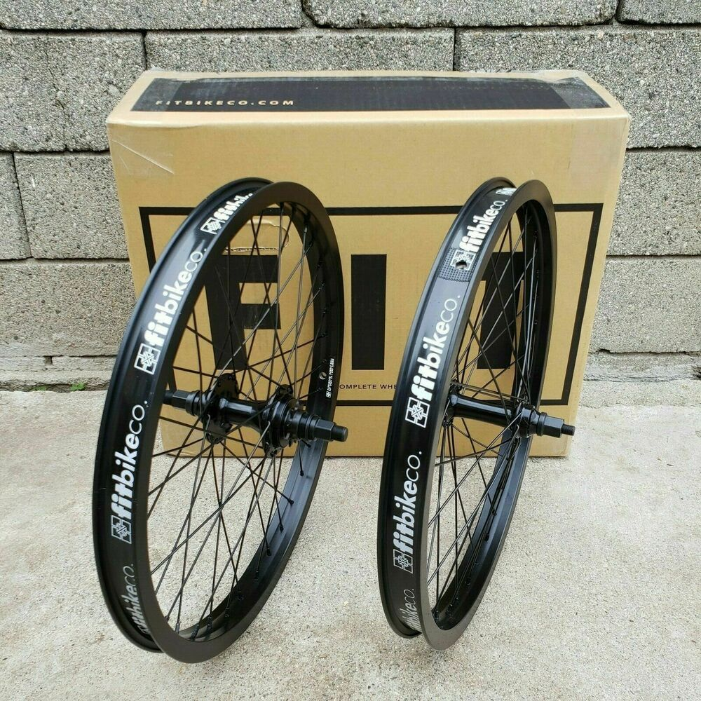 "FIT BIKE CO BMX CASSETTE 20/"" WHEELSET BICYCLE BLACK"