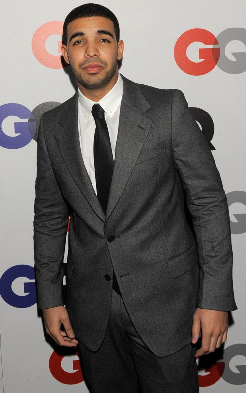 Drake: charcoal two-button suit and skinny black tie | Clothing ...